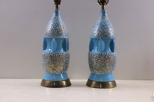 Pair Of Original Mid Century Modern Retro Atomic Lamps Turquoise Gold Accents