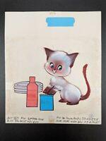 Vtg 60s Norcross Siamese Kitten Mother's Day Original Artwork Proof