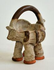 Weird Pottery Dish with Handle 4 Legs Bowl Elephant Prehistoric Abstract Art