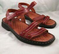 Josef Seibel Air Massage Sandals Brown Leather Ankle Strap EUR 40 US 10 Comfort