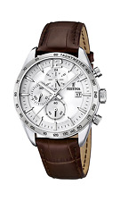 Festina Herren-Armbanduhr Analog Quarz Leder Edelstahl Braun Silber F16760-1