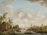"""perfect oil painting handpainted on canvas """"village by the lake""""@12733"""