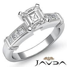 Asscher Forma Diamante Juego Canal Anillo de Compromiso GIA i SI1 14k Oro Blanco