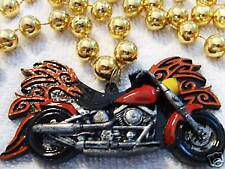 "RED HOT ""FLAMING MOTORCYCLE"" MARDI GRAS NECKLACE BEAD FLAMES HARLEY BIKE (B684)"