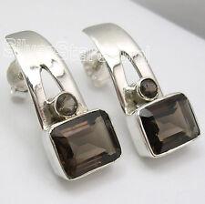 "Silver Brown Smoky Quartz Studs Earrings 0.8"" 2 Stone Ladies' Deco Jewelry ! 925"