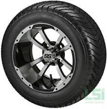 4 Golf Cart 215/50-12 DOT Tire on a 12x7 Blk/Machined  Storm Trooper Wheel