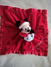 Doudou plat Mickey rouge satiné 1st Christmas Disney Store etat neuf