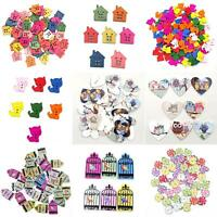 KE_ 50Pcs Fancy House Wooden Buttons Sewing Scrapbooking Cards Art Craft DIY D