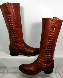 Frye Tall Studded Riding Boots 76916 Burgundy Red Women US 7.5 RARE