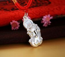 Pure S999 Sterling Silver Pendant /3D Bless 招财 Coin 貔貅PIXIU Pendant /3.5g