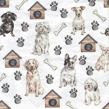 3 Lunch Papier Servietten Napkins (87-5) jede Menge Hunde