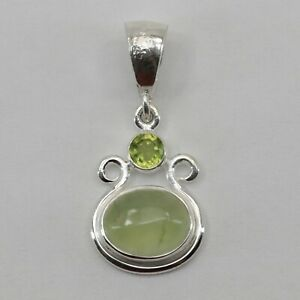 Genuine Natural Green PREHNITE with Peridot Oval Pendant 925 STERLING SILVER #7