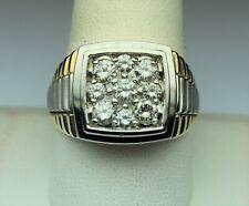 14kt 2 tone gold size 10.5+ Famous Style Heavy Men's diamond ring 1 cttw Hi Si2