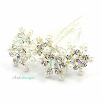 Bridal Wedding Prom Silver Crystal & Pearl Snowflake Hair Pins Clips Grips HP12