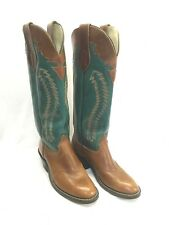 Men's Olathe Boots Brown Round Toe-Teal Tall Top, Style 001605