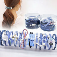 KE_ PW_ Bow Faux Pearl Hair Tie Rope Women Elastic Ponytail Holder Accessories