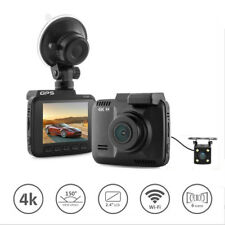 4k dash cam with gps WiFi Car video DVR Recorder dual cameras for front and rear