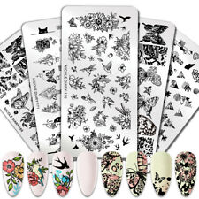 NICOLE DIARY Nail Stamping Plates Butterfly Flowers Lace Image Template Tool