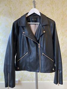 RIVER ISLAND black faux leather biker jacket UK 18 hardly worn, with gold zips