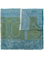 Etro Paisley Blue And Green Fringe Detail Pnel Scarf Italy $275