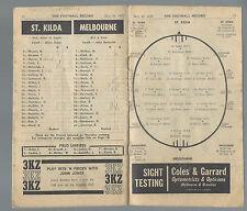 1970 VFL Football Record St Kilda v Melbourne May 30 Saints Demons