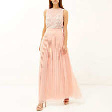 RIVER ISLAND PINK FLORAL EMBELLISHED PLEATED MAXI PROM WEDDING DRESS UK 10 BNWT