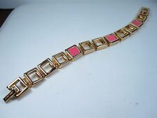 "Enamel - 7 1/2"" Length 0762 Nina Ricci Gold Plated Bracelet with Pink"