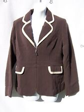 QVC Dialogue Double Faced Brown Twinstretch Contrast Trim Regular Jacket 6P NWT