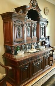Elegant Antique Viennese Walnut Buffet With Marble Top circa 1865.