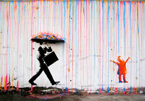 NOT BANKSY FRAMED CANVAS STREET GRAFFITI PAINTING ART PRINT RAINBOW RAIN NORWAY