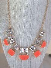 NWT Kate Spade New York $148 Coral/Orange Varadero Tile Gold Statement Necklace