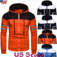 Men's Casual Sport Cardigan Tops Zipper Hoodie Coat Jacket Fashion Sweatshirts