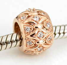 SOLID 9CT 9K ROSE GOLD Charm BEAD with 24pcs CZ gems For Bracelet or Necklace