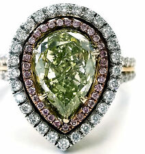 GIA Certified Rare Natural Fancy Green Pear Cut 18k Gold Diamond Ring 3.40 CTW