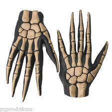Deluxe SKELETON BONE HAND GLOVES Costume Rubber Latex Monster Long Fingers Adult