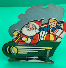 Vintage Christmas CARDBOARD SANTA Driving Sleigh WWII CANDY CONTAINER 1940's!