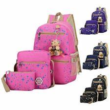 3Pcs Set Women Girls School Backpack Canvas Travel Bag Shoulder Bookbag Satchel