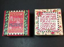 Mary Engelbreit Christmas Gift Box Lot Of 2 Jewelry Boxes 2 1/2�