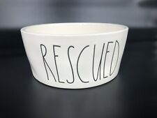 "NEW Rae Dunn By Magenta ""RESCUED"" Ceramic Dog Cat Pet Bowl Dish Ivory LL HTF"