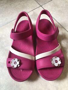 Girls Pink Crocs Sandles Size 1 Junior