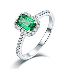 Solid 14K White Gold Colombia Emerald & Diamond Wedding Vintage Ring