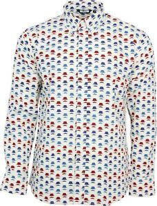 Relco Mens Cream White Abstract Hat Moustache Long Sleeved Button Down Shirt
