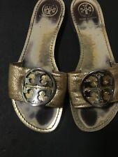 f6f80f43b9f8 TORY BURCH GRANIA Sandals Leather Slides Open Toe Shoes Gold Metallic Size  8.5