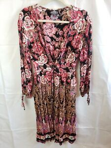 Angie Women's Floral Duster Boho Hippie V-Neck Long Sleeve Size S