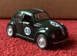 1:38 VW Volkswagen Bug Beetle Herbie Replica Pull Back Diecast Green