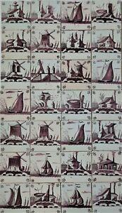 28 SUPERB Dutch Delftware Delft faience tile carreaux sailboats, windmills etc.
