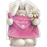 "Daughter Birthday Card ""Cute Bunny Design"" Size 7"" x 5"" - RNHH 0085"