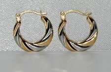9ct Yellow & White Gold Ladies Swirl Pattern Creole Hoop Earrings
