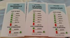 Monopoly Revolution Board Game Spare  Replacement light Blue property cards (3)