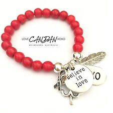 Red Turquoise Bracelet Believe In Love Angel Feather Hope Clover Charms